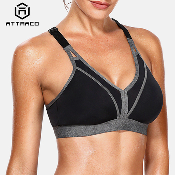 Attraco Women Sports Bra High Impact Support Backcross Yoga Bra Running Workout Bra Underwear Professional Fitness Sports Top high impact contrast color cut out sports bra in orange