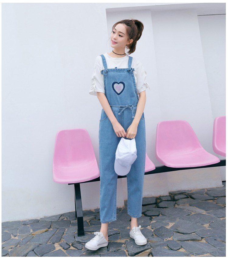 Women Cute Love Denim Jumpsuit Lace Up Loose Jeans Rompers  Female Casual Sleeveless Overall Playsuit With Pocket