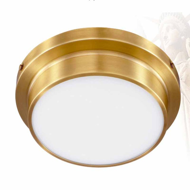 American Iron Round Flush Mount LED Ceiling Light Glass Gold