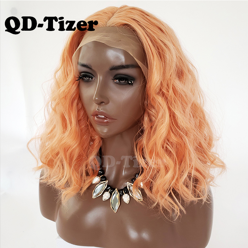 QD Tizer Orange Color Loose Wave Synthetic Lace Front Wig Short Lob Hair Glueless with Baby