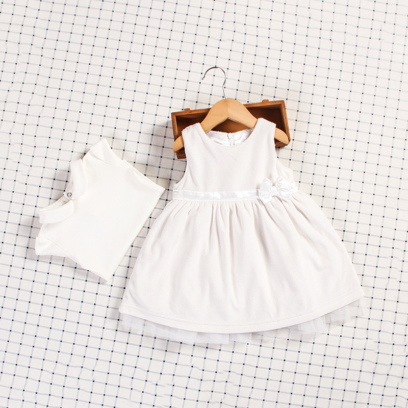 mikistory Elegant Dress Sets For Baby Girls Spring Sleeveless Patchwork Bonwnot Newborns Clothes White Sweat Vestidos Infantil