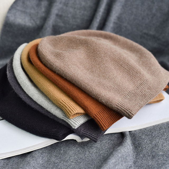 MingJieBiHuo nouvelle mode Automne et hiver mode Coréenne chaleureux  epaissir simple en tricot chapeau en cachemire confortable bonnet de laine  chapeau ... d6a2708248a