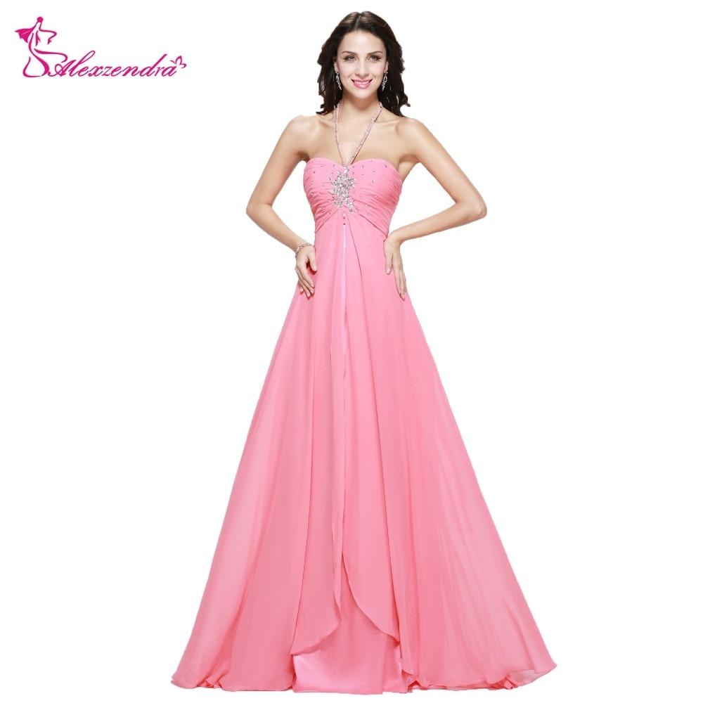 Alexzendra Pink Beaded Pleats Chiffon Cheap Halter Up   Prom     Dresses   Plus Size Evening   Dress   Party   Dress   for Girls