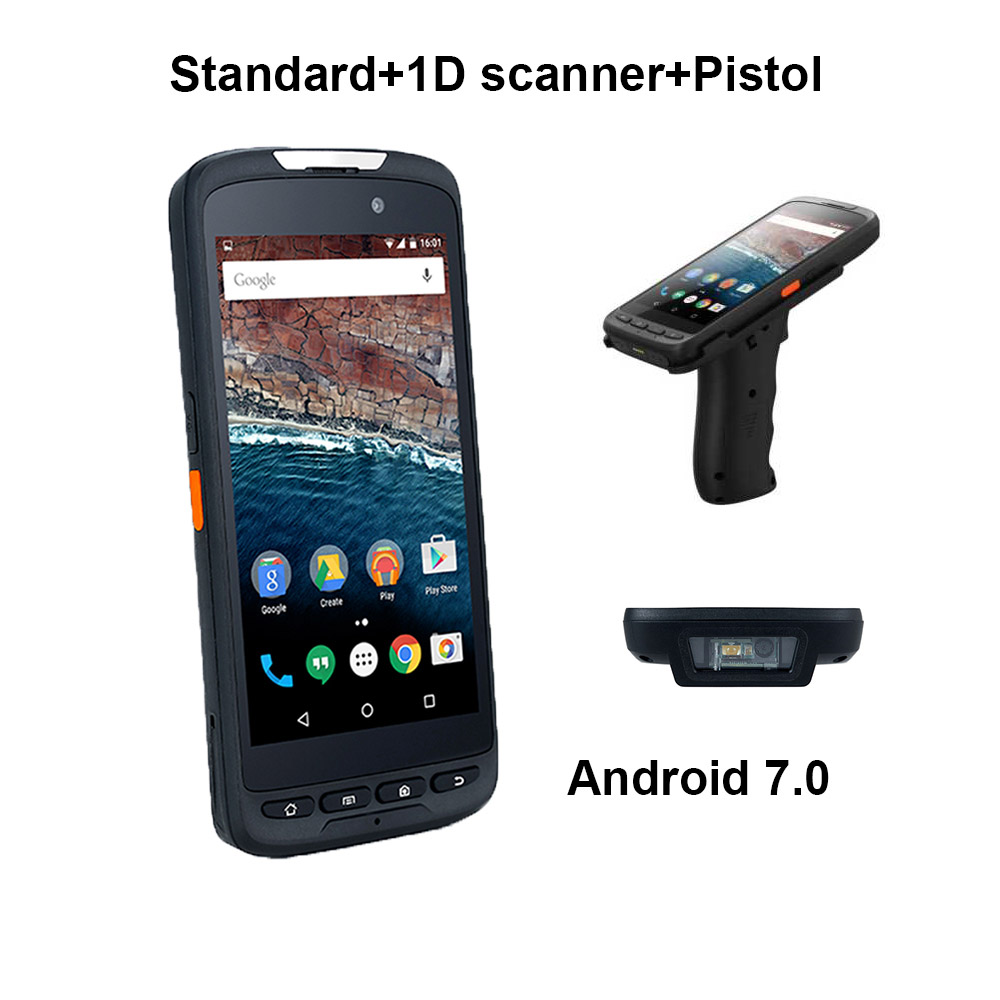 4G Network IP65 Rugged Wireless NFC Reader Handheld 1D Barcode Scanner With Pistol Cradle Android Phone