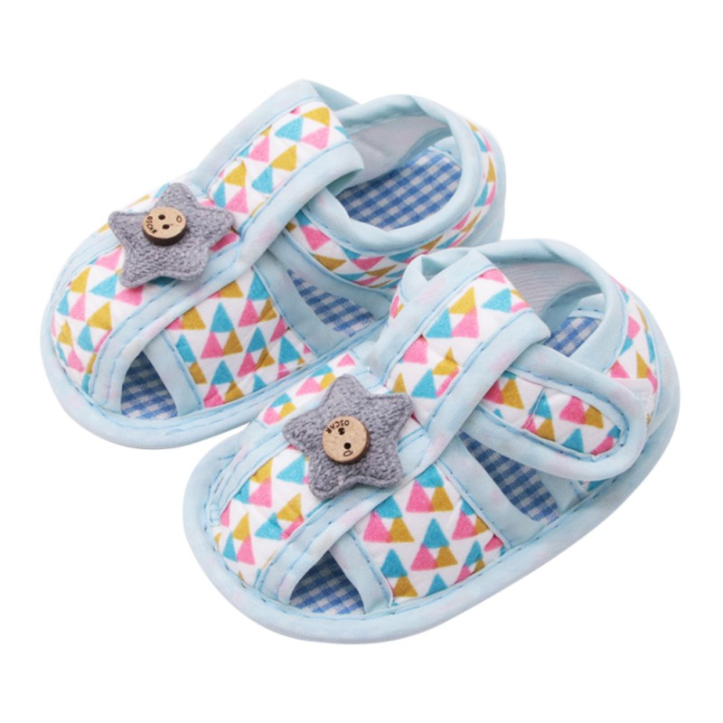 Summer Newborn The First Walker Stars Stitching Cotton Shoes Tri-Color Triangle Printing ...