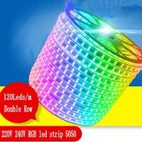 120 leds/m Dupla Linha 220 v 240 v RGB led strip 5050 warm white/branco/roxo /vermelho/RGB conduziu a luz da fita 1 m 50 20 15 10 5 m m m m m 100 m