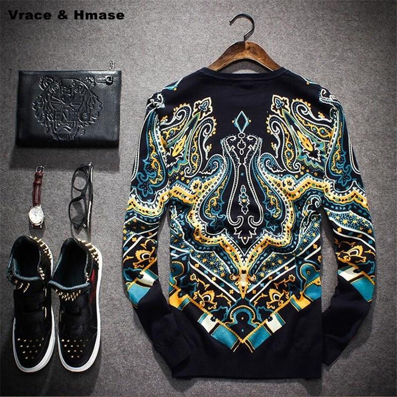 Style européen et Américain palais impression tricoté pull en cachemire 2018 Automne et D'hiver de mode de haute qualité chandail hommes M-3XL