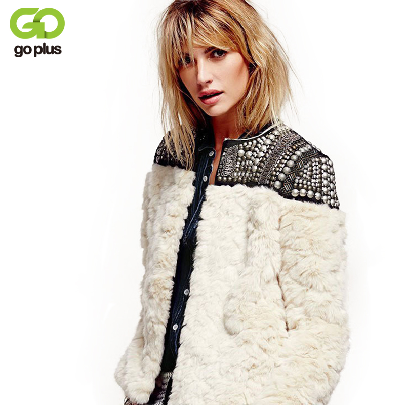 GOPLUS Winter Coat Women Jacket Rex Rabbit Faux Fur Coats Beading Punk Style Short Fur Jacket Rivets Outwear Casaco Pele Falso pearl beading textured faux fur coat