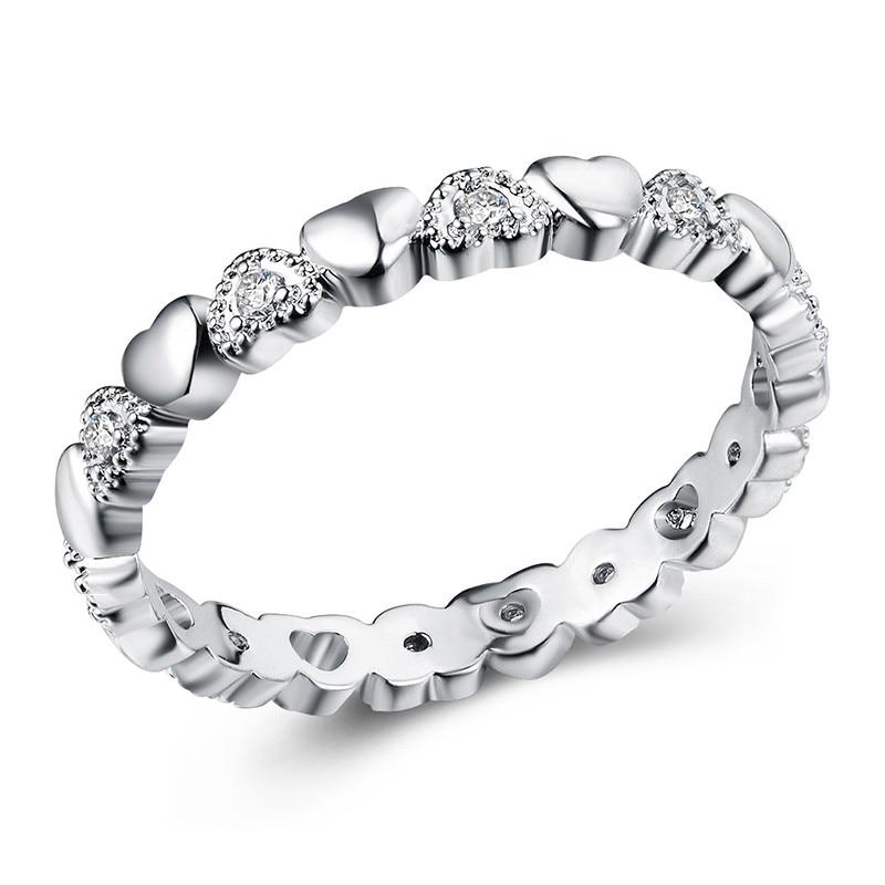 Модное Сверкающее циркониевое серебряное кольцо для женщин, цветочное сердце, корона, кольца на палец, фирменное кольцо, ювелирное изделие, Прямая поставка - Цвет основного камня: 5