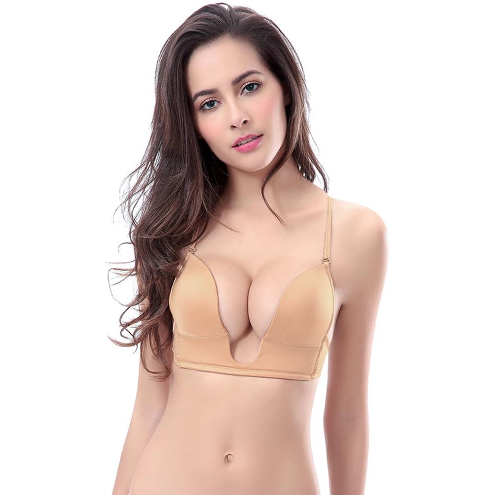 Buy New Super Gather Push Bra plunge plus size Big Cup women underwear Sexy silicon transparent & Simple Straps B C D E F 70-90