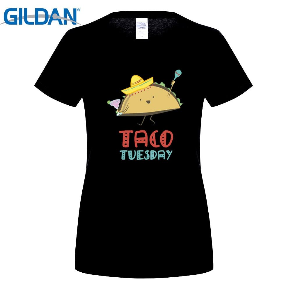 GILDAN fashion brand t shirt Womens TACO TUESDAY cartoon Vintage short sleeve Tshirts pr ...