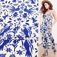 Blue floral and bird print pure silk Crepe DE chine fabric 138cm width,SCDC700