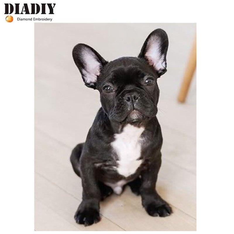 Bulldog, Full, Diamond Embroidery, 5d, Diamond Drawing Bulldog Dog, Cross Stitch Dog 3D, Diamond Mosaic Pattern, Hand, Christma