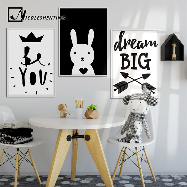 Black white cartoon rabbit wall art canvas motivational posters and prints painting nursery picture children bedroom