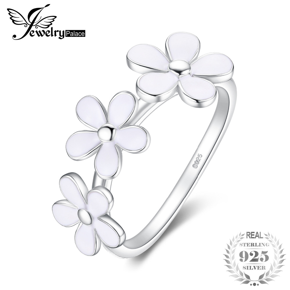 JewelryPalace 925 Sterling Silver White Enamel Daisy Flower Ring  New Hot Sale Beautiful Gifts For Mother And Daughter