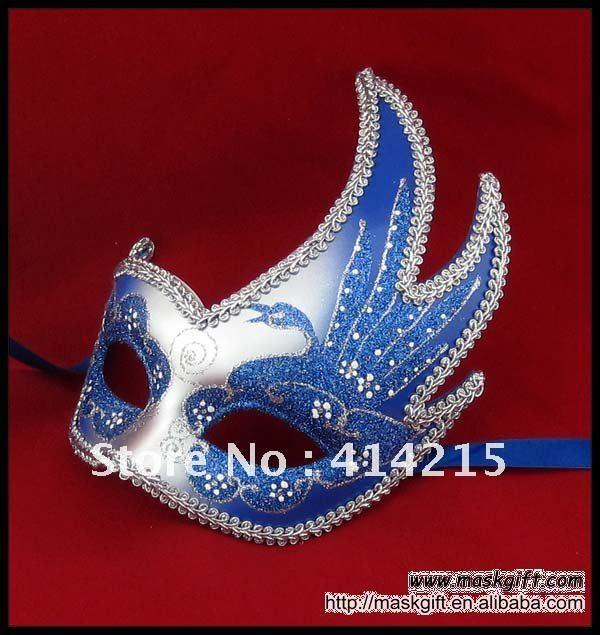 В США карнавальные маски, довольно синий и серебро оптом карнавальные маски