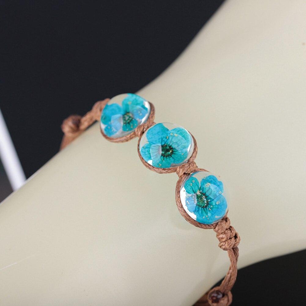 New Spring Summer Boho Style Vintage Dried Flowers Glass Ball Bracelet Weave Lucky Grass Bracelets Wholesale