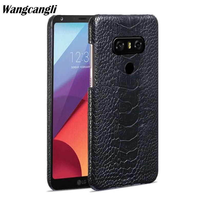 Wangcangli D'autruche naturelles pied peau téléphone étui pour lg G6 En Cuir Véritable téléphone coque Arrière coque de téléphone