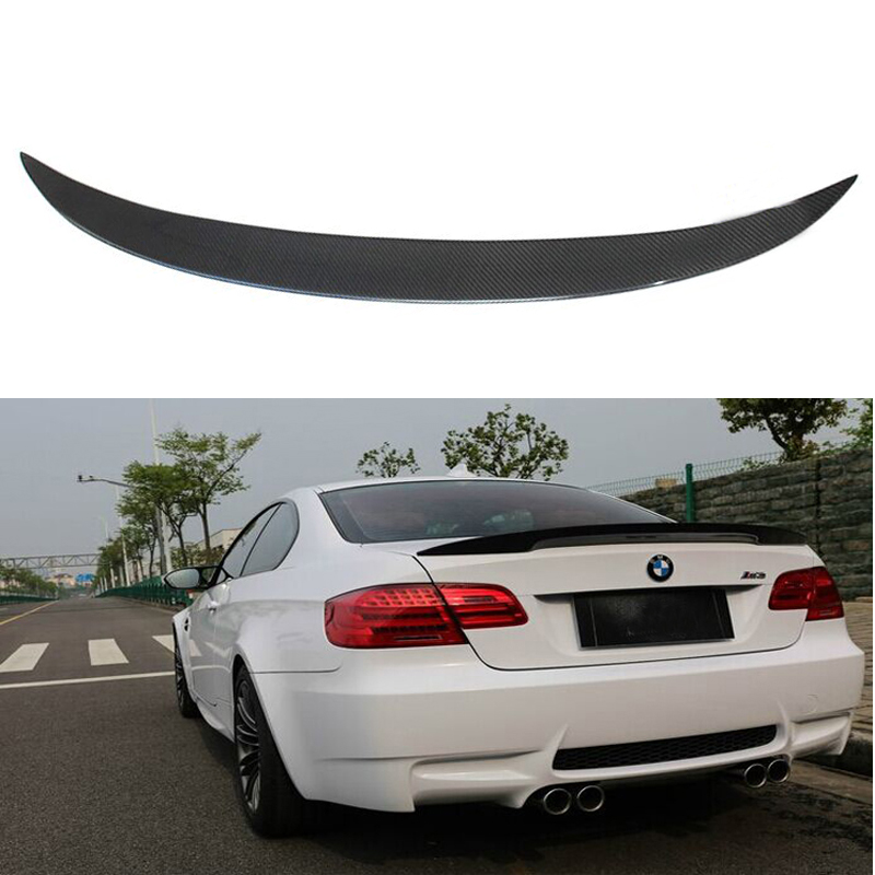 Fit For BMW E92 3 Series Spoiler 2005-2012 2 Door E92 M3 Performance Style Black Carbon Fiber Rear Wing Spoiler for bmw e92 carbon fiber spoiler p style 3 series e92 & e92 m3 carbon fiber rear spoiler rear trunk wing coupe 2 door 2005 2012