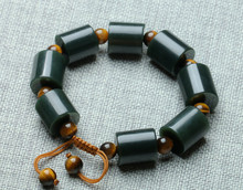 2017 Dark Green 100% Natural Hetian Jade Bracelet Cylindrical With Beads Women Mens Gift Bracelets Nephrite Qing Jades Jewelry