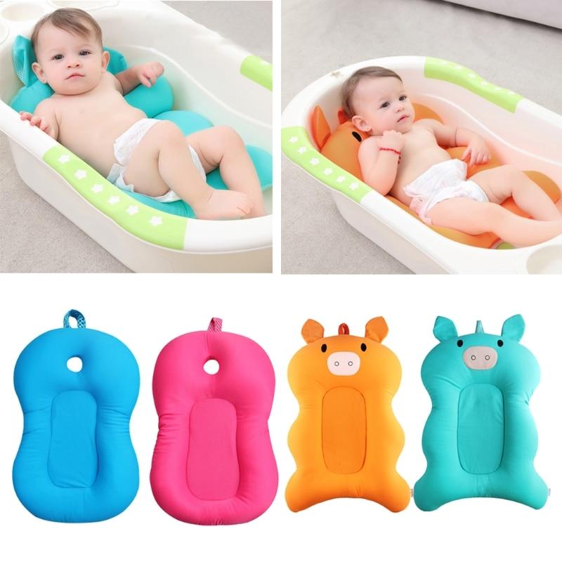 Newborn Baby Foldable Bath Tub Pad Infant Safety Shower Antiskid Cushion Net Mat MAY29-B wood grain flannel antiskid bath rug