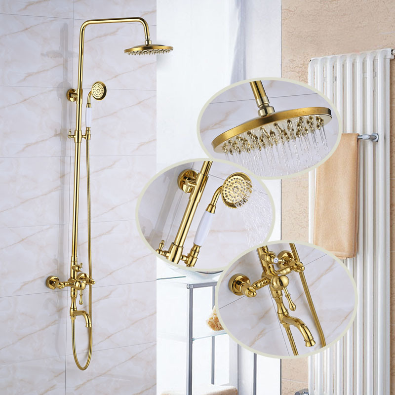 Luxury Golden Shower Faucet with 8 Brass Shower Head Adjustable Height Bathroom Shower W ...