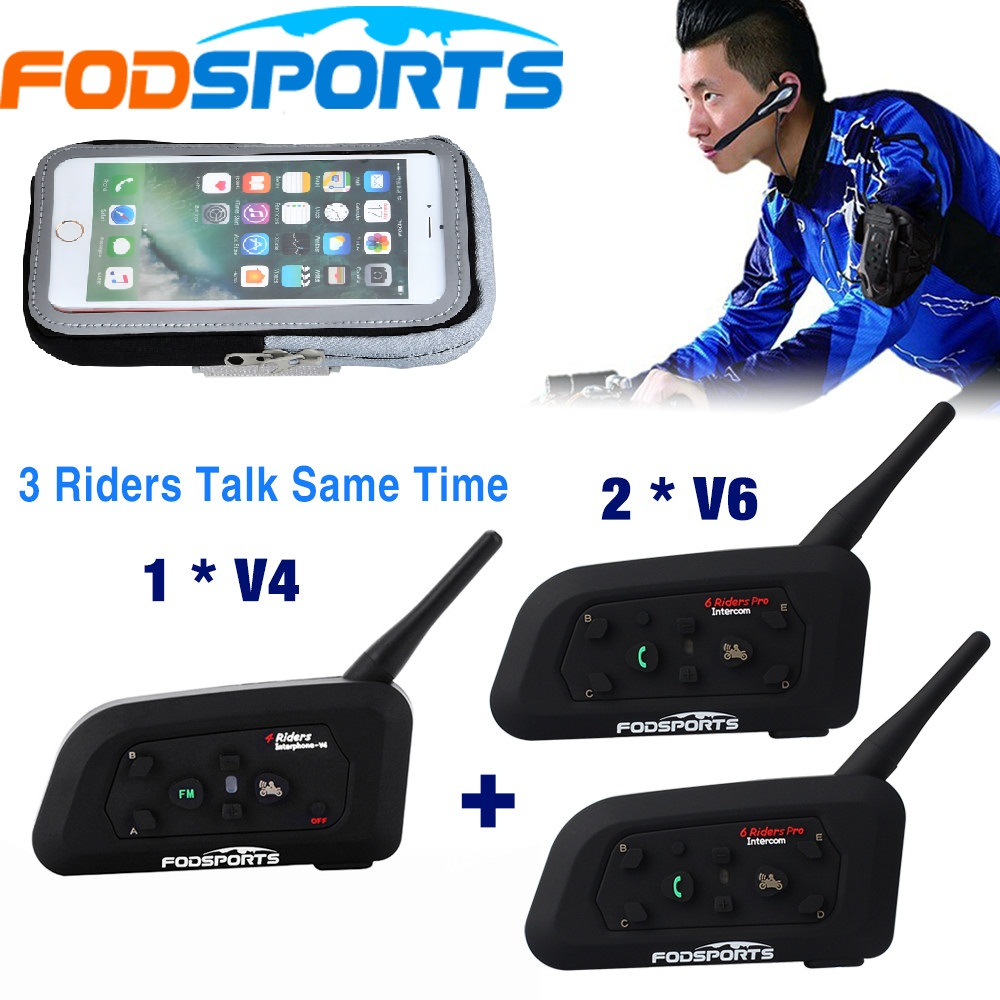 Fodsports Referee Intercom BT Interphone 3 Riders Talking At The Same Time For Football Judge Bike Wireless Bluetooth Headset