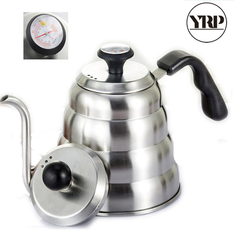 YRP 1000/1200ML Stainless Steel Hario Coffee Drip Kettle Gooseneck Led Spout Coffee Tea Pot with Thermometer For Baristal Tools|Coffee Pots| |  -
