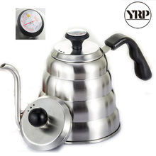 YRP 1000/1200ML Stainless Steel Hario Coffee Drip Kettle Gooseneck Led Spout Coffee Tea Pot with Thermometer For Baristal Tools hario чайник 0 6 л cha 4sv hario