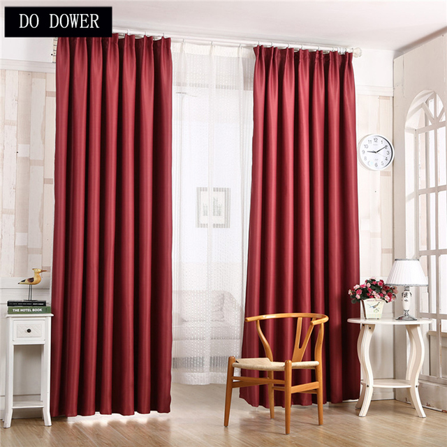Solid Wine Red Blackout Kitchen Curtains For Living Room Window Shade Cloth Bedroom Drapes Curtain