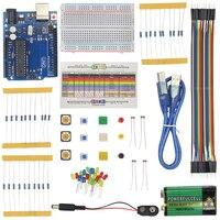 Światło Podstawowe Nauki Uchwyt Baterii USB Kabel Jumper Starter Kit Rezystory drut Przełącznik Przycisk Kapelusz dla UNO R3 dla Arduino + Box
