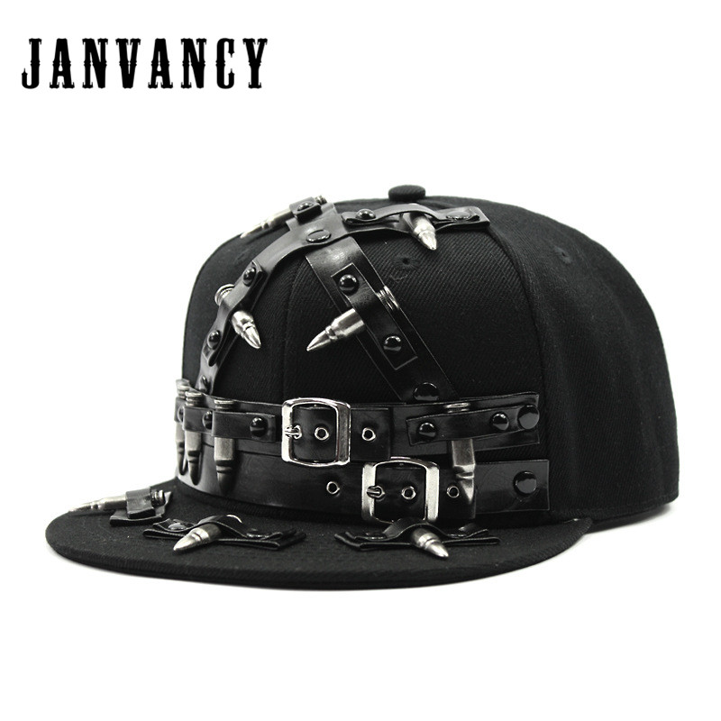 Janvancy Novelty Baseball Caps Men Women Black Snapback Steampunk Lock Bullet Belt Hip Hop Cap Punk Flat Bone Hat