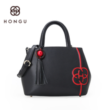 Hongu Light Luxury Genuine Leather Women Tassels Casual Tote handbags Famous Brand Lady Shoulder Killer Shell Bag designer louis