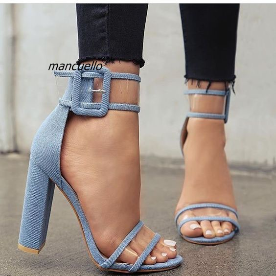 Concise Line Buckle Style Blue Jeans Chunky Heel Sandals Sexy Denim Open Toe Clear Band Block Heel Dress Sandals New Arrival pu line style buckle high heel womens glitter sandals page 2