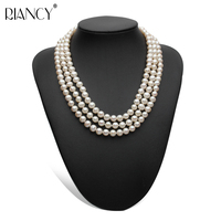 Multilayer Freshwater Pearl Necklace Classic Wedding Natural Pearl Necklaces Silver Jewelry Women Mom Birthday Best Gift