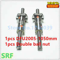1pcs 20mm Rolled Ballscrew RM2005 Length 1050mm with DFU2005 Ball screw Double ball nut no end machined