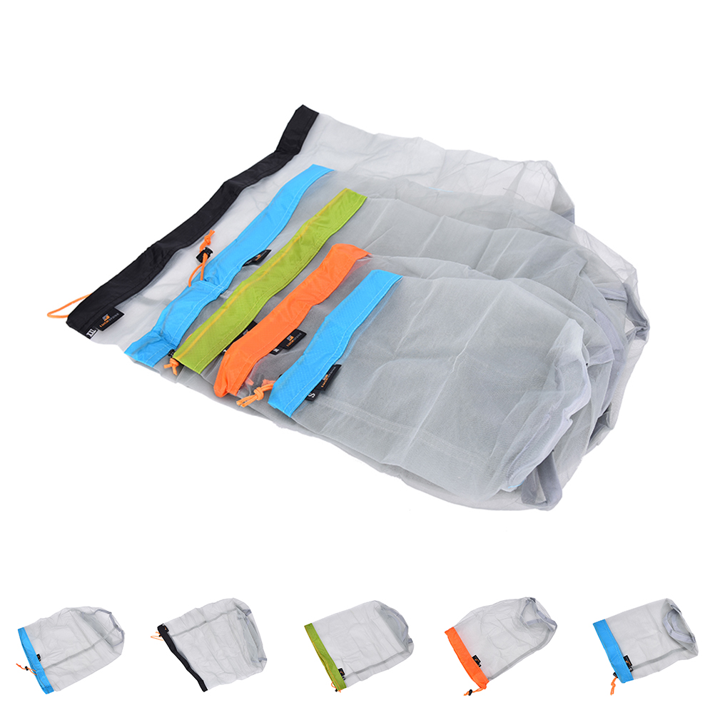 1Pcs 5 Sizes Portable Tavel Mesh Stuff Sack Drawstring Bag Travel Kit Accessories