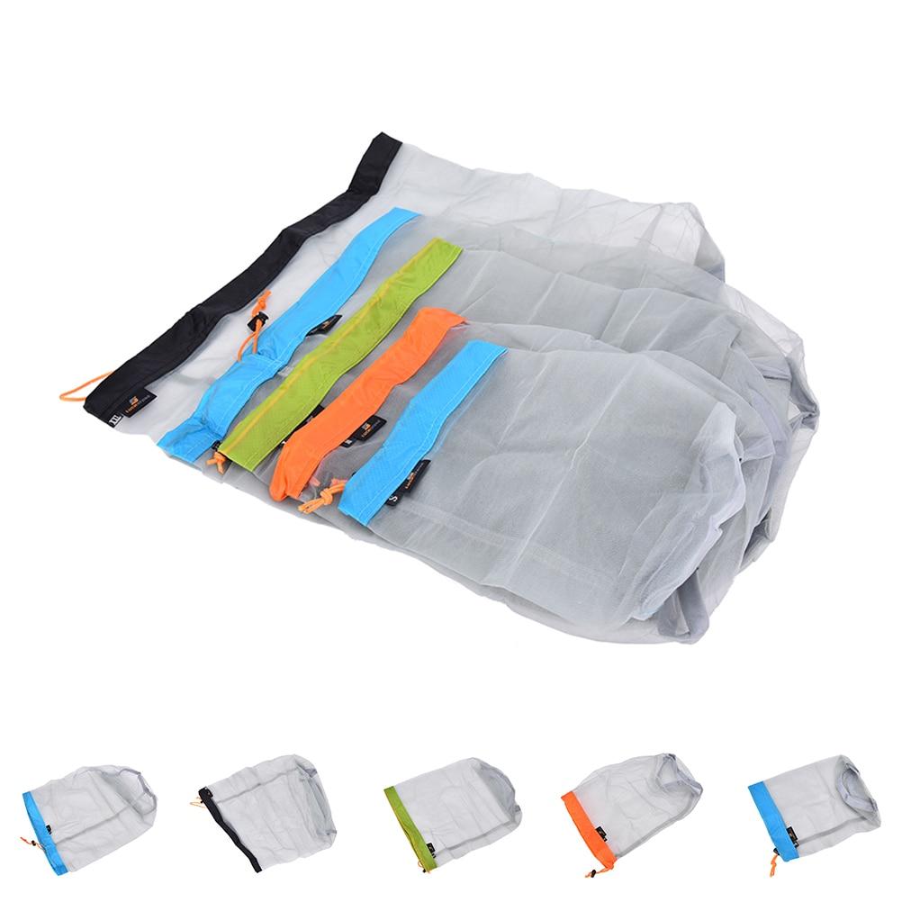1Pcs 5 Sizes Portable Tavel Mesh Stuff Sack Drawstring Bag Travel Kit Accessories