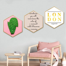 Hexagon decorative painting with frame Northern Europe style green plant pattern Bedroom dining room wall Pink mural