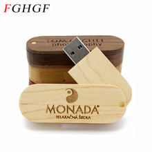 FGHGF customer LOGO rotatable Wooden USB Flash Drive Pendrive Memory Stick pen drive 4GB 8GB 16GB 32GB wedding gift