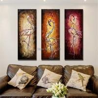 Pittura a olio dipinta a mano astratta moderna Fenicotteri elegante uccello tela immagine Trittico canvas art for living room