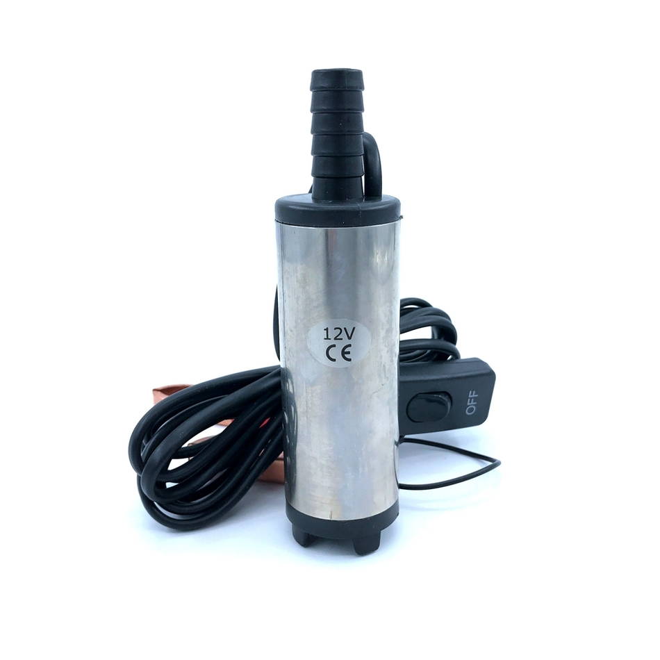 Submersible Diesel <font><b>Fuel</b></font> Water Oil <font><b>Pump</b></font> Diameter 38MM Stainless Steel DC 12V 24V 20L/Min 40W Car Camping Portable With Switch