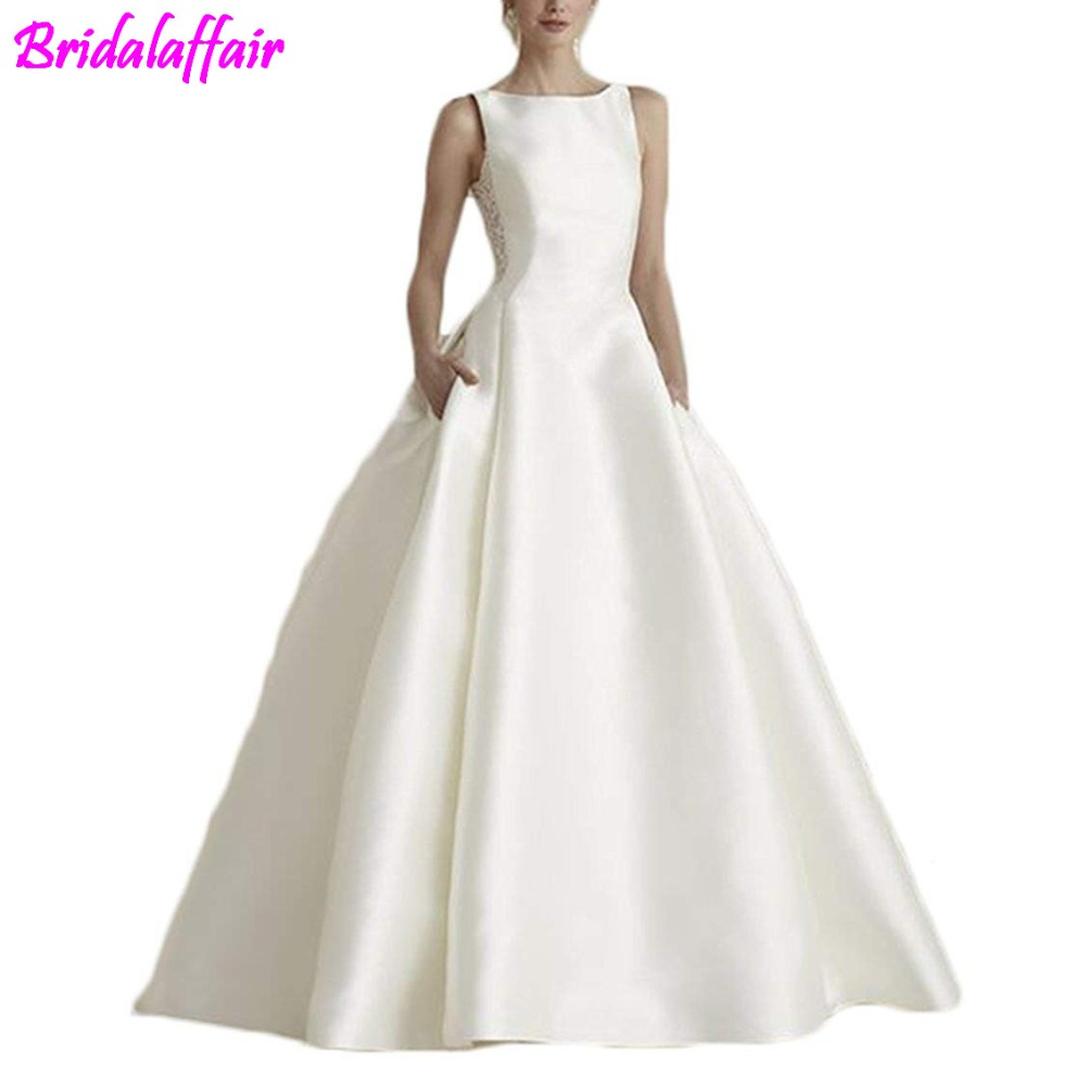 2018 Sexy Bridal Dresses Neck Ivory Satin Gowns Appliques Lace Wedding for Bride Ball Gown robe de mariage