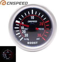 """CNSPEED автомобильный турбо Boost Gauge-30 дюймов. Hg~ 0~ 30PSI """" 52 мм Универсальный светодиодный фонарь 12 В Turbo Boost PSI цифровой указатель"""