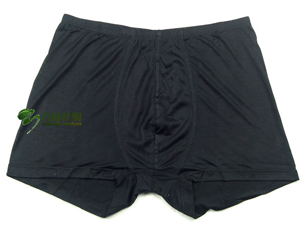Male silk knitted silk panties silk boyleg trunk black