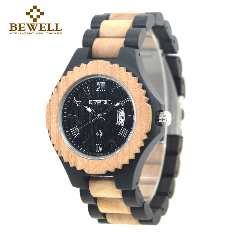 BEWELL Wooden Man Watches Vintage Design Wood Watch Men Auto Date Quartz Wristwatch Luxury Fashion Wrist Watch Men 2017 New bewell men wooden watch black sandal wood roman numerals date wrist watches luxury men s round dial full wood relogio masculino