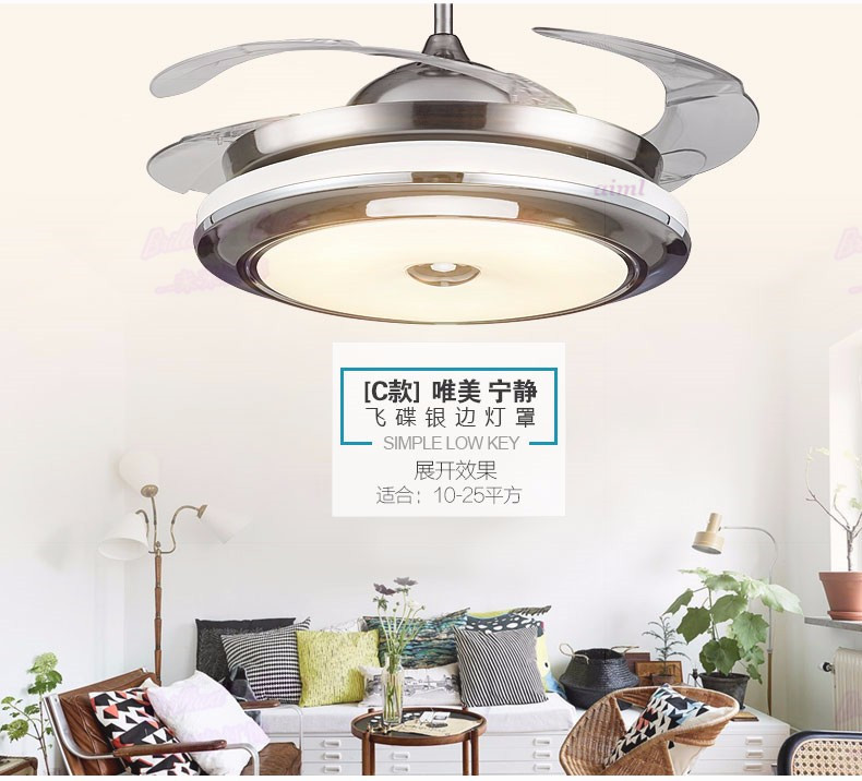 High quality 3 Color led fan lamp Changing light  Modern LED invisible ceiling fan light remote control ceiling lamp 110-240vHigh quality 3 Color led fan lamp Changing light  Modern LED invisible ceiling fan light remote control ceiling lamp 110-240v