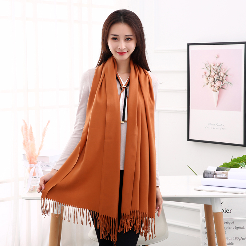 New 2019 Imitation Cashmere Scarves Solid Color Thickening Long Scarf Luxury Brand Autumn Winter Tassel Cashmere Shawl For Women
