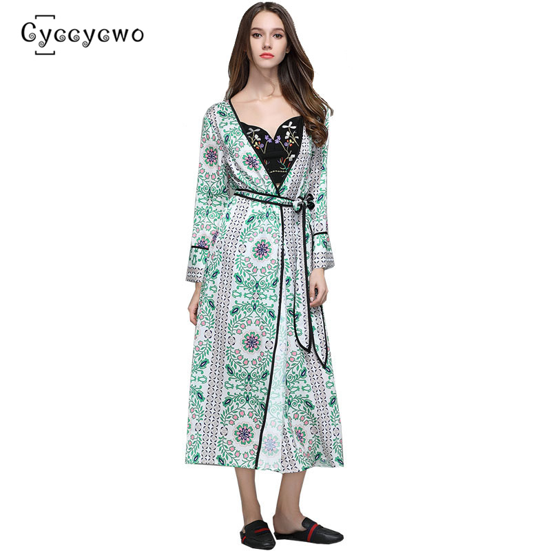 Discount] 2019 New Summer Floral Print Silk Trench X-Long