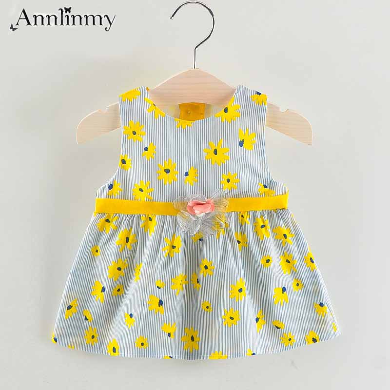 girls dress 2018 summer baby clothes o-neck printing princess dress lovely sleeveless Seaside style baby girl dress for 0-2 age
